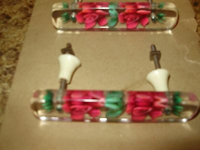 Rare! Vintage Lucite Rose/flower Drawer Pull Set With Furniture Decals To Match