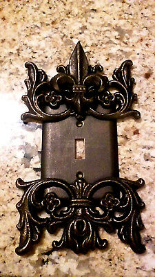 Metal, Single Toggle Switch Plate, Fleur de Lis, Old World, Tuscan, Wall Cover