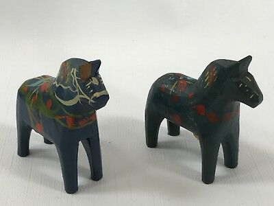 """2 Vintage Olsson Blue Decorated Dala Horses Small 3""""H and under 3""""L Sweden"""