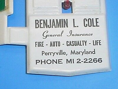 Vintage Benjamin L. Cole Insurance Perryville Maryland Thermometer