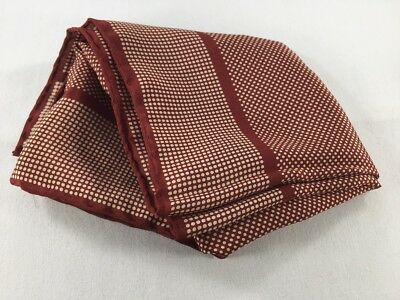 "PAUL STUART Men's Silk Pocket Square ~ 16"" Red Ten Dot Blocked Print 3124"
