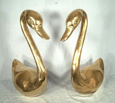 Large Pair Of Decorative Mid Century Art Deco Style Brass Swans Or Lamp Bases