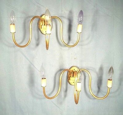 Pair Of Mid Century Classical Regency Gilt Metal Oval Back 3 Arm Sconces