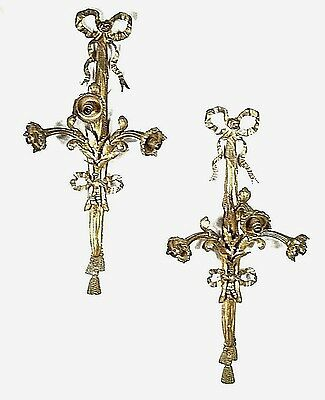 "28"" Tall Pair Of Heavy Brass Bronze French Regency Bow And Tassel 3 Arm Sconces"