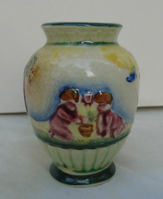 Vintage Porcelain Occupied Japan Small Vase Children White Green Pink Brown