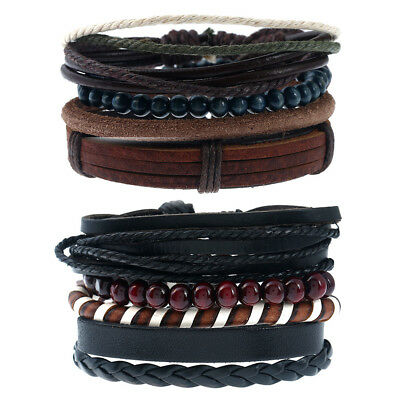 8 pcs Braided Leather Bracelet for Men Women Tribal Beaded Cuff Wristband Bangle
