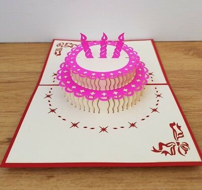 2 Tier 3 Candles Birthday Pop Up Cards 3D Happy Cake Card Kirigami