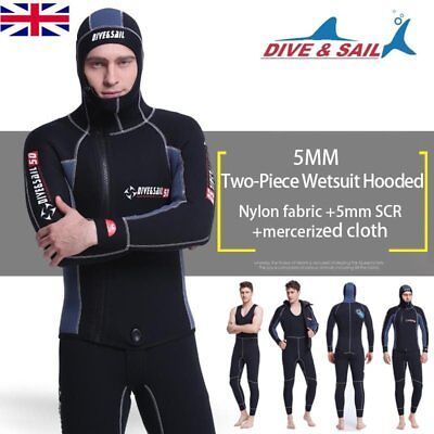 DIVE&SAIL Men Scuba Cloth Wetsuit With Hood Zipper Split Spearfishing Wet Suit T