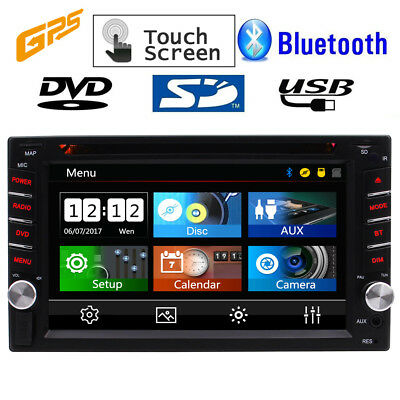 HD Touch Screen Double 2 DIN Car GPS Stereo DVD Player Bluetooth Radio USB AUX