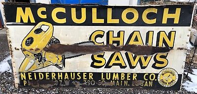 HUGE 1950's McCulloch Chainsaws Sign