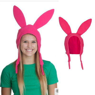 Family Matching Hat Louise Bunny Ears Cosplay Beanie Pink Hat Mom Girl Kid Funny