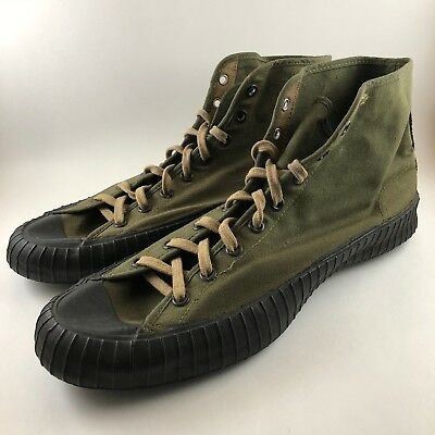 Vintage WWII Military Issue Athletic High Top 1945 Canvas Sneaker Shoe Mens 11