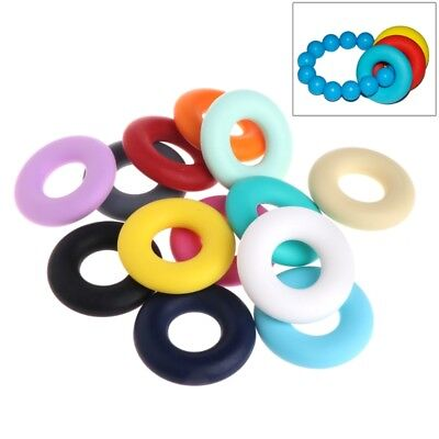 DIY Silicone Beads Pendant Baby Teether Relief Pain Ring Decor Safety Necklace