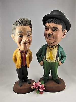 """LAUREL and HARDY   ESCO  Statues Chalkware  16"""" and 17"""" 1971 - Great Condition!"""