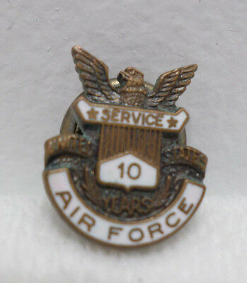 United States Air Force 10 Year Service Pin Screw Back