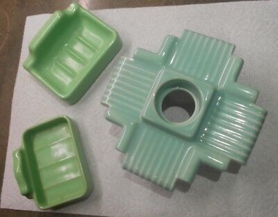 Antique Porcelain Art Deco Wall Sconce+ Old Soap Dishes Green and Teal Combo