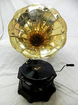 Antique Octagonal Gramophone Phonograph Fully Functional With Plain Brass Horn