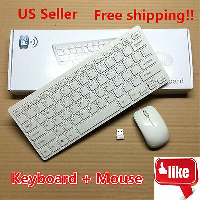 2.4G DPI Wireless Keyboard and Optical Mouse Combo for Laptop iMac Macbook White
