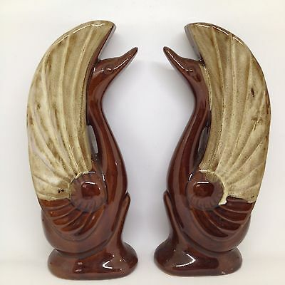 Vintage Mid Century Pottery Ceramic Swans Brown Drip Glaze Redware Bookend Pair