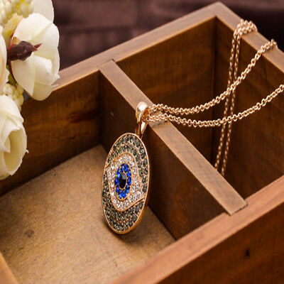 Hot Fashion Blue Evil Eye Design Necklace w/ Rhinestone Pendant Gifts Jewelry