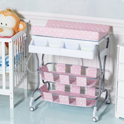 2 IN 1 Infant Baby Changing Table Bath Tub Unit Rolling Station Storage Dresser