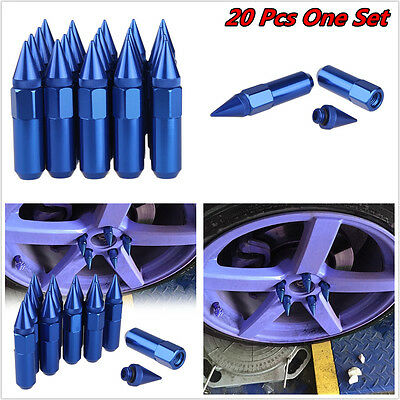 20Pc Blue Spiked Aluminum Extended Tuner 60Mm Lug Nuts For Wheels / Rims M12X1.5