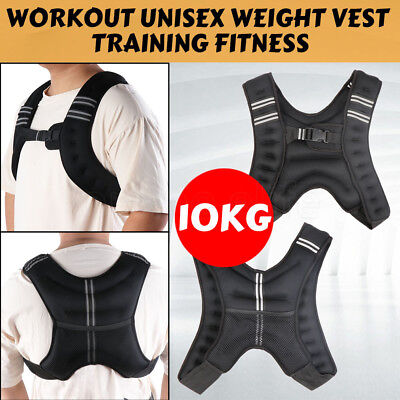 10KG Adjustable Workout Weighted Vest Gym Crossfit Training MMA Exercise Running