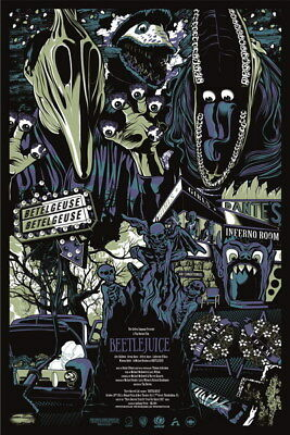 """009 BeetleJuice - Thriller Horror USA Classic Movie 24""""x36"""" Poster"""