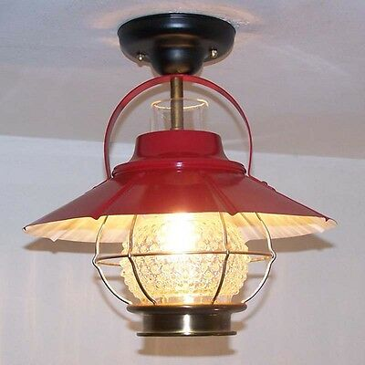 924 Vintage 50's 60's Lantern CEILING GLASS LIGHT fixture lamp farmhouse