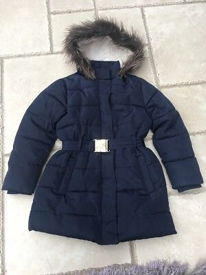 M&S Girls Navy Padded School Coat Jacket Age 7-8 Years Excellent Condition