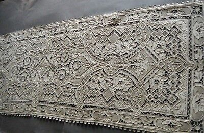 Antique Madeira lg Runner combo H Emb/ry needle lace appenzell work 30s England
