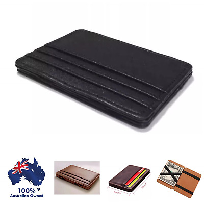 Chic Leather Magic Money Clip Slim Mens Wallet ID Credit Card Holder Case
