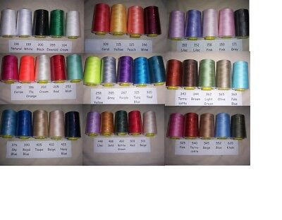 Overlocking Sewing Thread Industrial Machine 4 cones each 5000 yards  48 colours