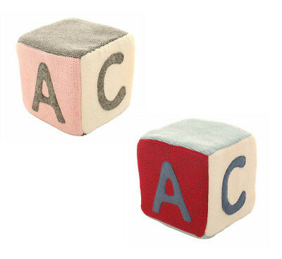 Alimrose Fabric Knit ABC Cube Baby Rattle Toy