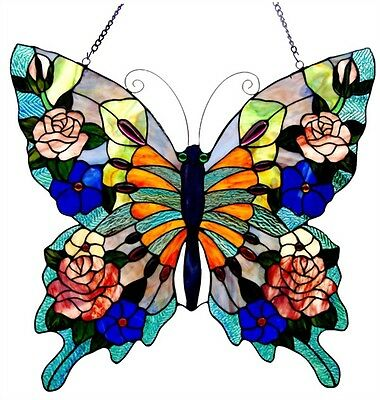 """Colorful Tiffany Style Butterfly Design Stained Glass Window Panel 22"""" T x 24"""" W"""