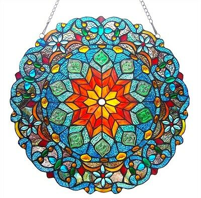 "Very Colorful Handcrafted 21"" Round Tiffany Style Stained Glass Window Panel"