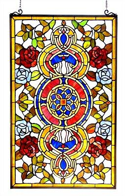 """Colorful Floral Medallion Tiffany Style Stained Cut Glass Window Panel 20"""" x 32"""""""