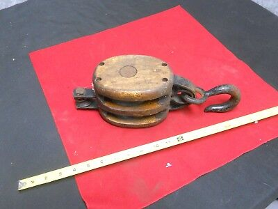 Vintage ANVIL Wood & Cast Iron Pulley com 3 Double Block with Hook