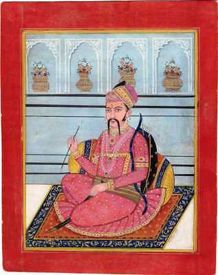 Fine Miniature Painting Of Royal Maharaja Portrait With Bow & Arrow Home Decor