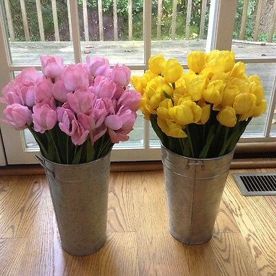 Home decoration items, A pair of French buckets with artificial flowers