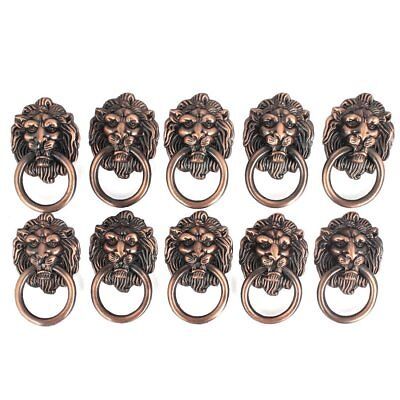 Lion Head Dresser Drawer Cabinet Door Ring Knocker Pull Handle Knob Set 10pcs