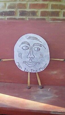 Old Aafa Wood Man In The Moon Wall Hanger-1927-Parts From 19Th C. Chair