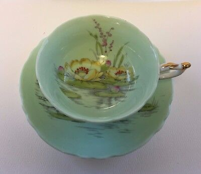 Paragon Large Flower Water Lily Light Green Aqua Tea Cup and Saucer