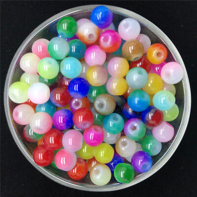 NEW DIY 4/6/8mm Double Color Glass Round Pearl Spacer Loose Beads Jewelry Making