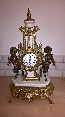 Gracious wonderful chiming itallian clock marble & brass with key working fine