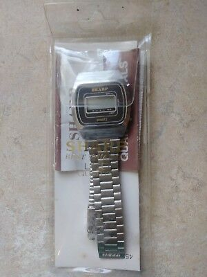 Vintage SHARP mens wristwatch Quartz LCD NEW OLD STOCK Mint in bag 1984