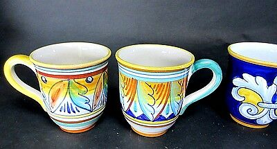 Pair of Deruta Made in Italy Mugs Hand Painted