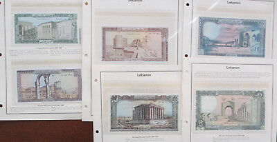 6 Uncirculated Lebanon Bank Notes 2 to 250 Livres 1964-1988 Issue Dates