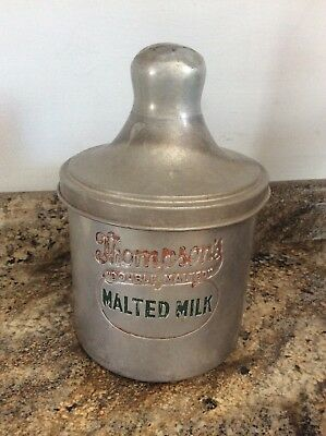 Vintage 50s Thompson's DBL Malted Milk Tin Soda Fountain ADVERTISING. DBL SIDED!