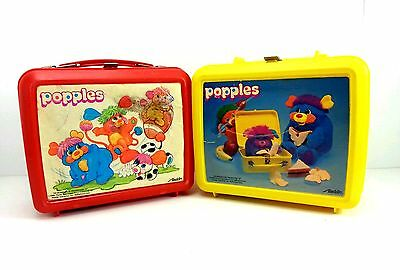 The Popples Plastic Lunchbox With Thermos Lot Of 2 Red Yellow Vintage